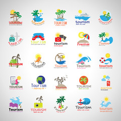 Summer Icons Set-Isolated On Gray Background.Vector Illustration,Graphic Design.Vacation Icons.For Web,Websites,Print,Presentation Templates, Mobile Applications And Promotional Materials.Flat Sign