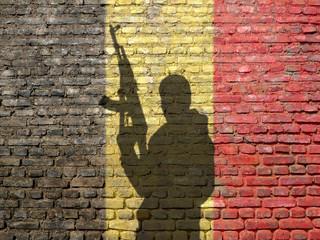 Shadow of man on Belgium flag painted brick wall