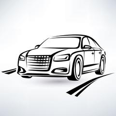 modern luxury car symbol, outlined sketch