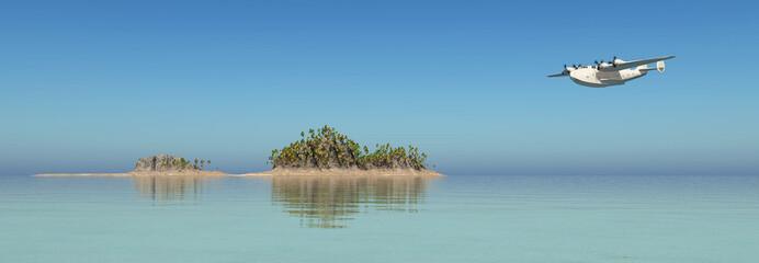Flugboot über einer Insellandschaft