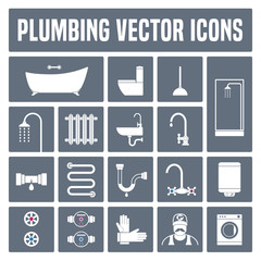 Collection of vector plumbing icons in set