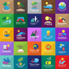 Summer Icons Set-Isolated On Mosaic Background.Vector Illustration,Graphic Design.Vacation Icons.For Web,Websites,Print,Presentation Templates, Mobile Applications And Promotional Materials.Flat Sign