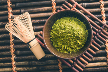 Japanese green matcha tea powder
