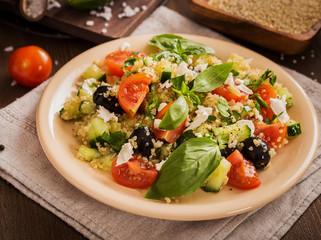 Tomato cucumber feta olive quinoa salad