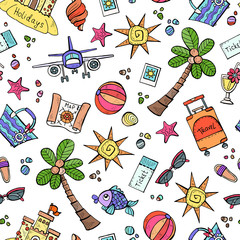 Vector seamless pattern with hand drawn colored symbols of summer on white color