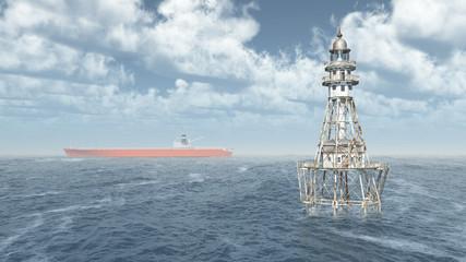 Leuchtturm im Meer und Frachtschiff