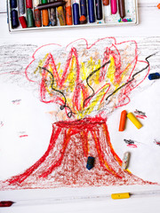 colorful drawing: erupting volcano