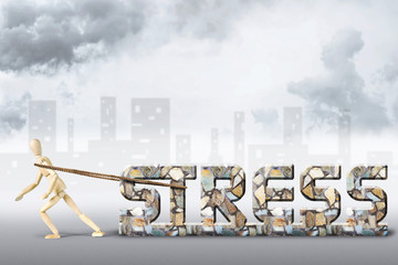 Concept of heavy stress. Abstract image with a wooden puppet