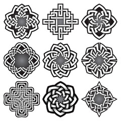 Set of logo templates in Celtic knots style. Tribal tattoo symbols package. Nine silver ornaments for jewelry design.