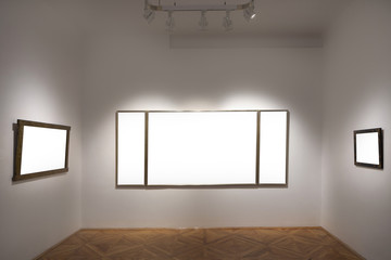 empty gallery with empty frames indoor