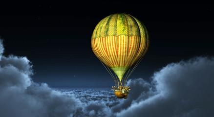 Fantasie Heißluftballon zwischen den Wolken