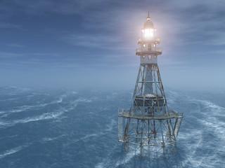 Leuchtturm im Meer bei Nacht
