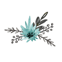 Floral bouquet with blue flower and black branches