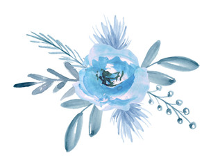 Floral bouquet with blue flowers