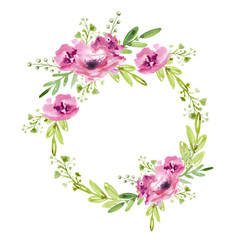 Floral wreath with pink flowers