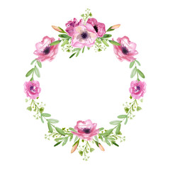Floral wreath. Watercolor