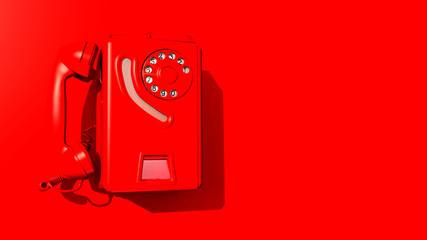 Rotes Wandtelefon an roter Wand