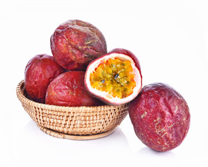Passion Fruit  in Basket on white background