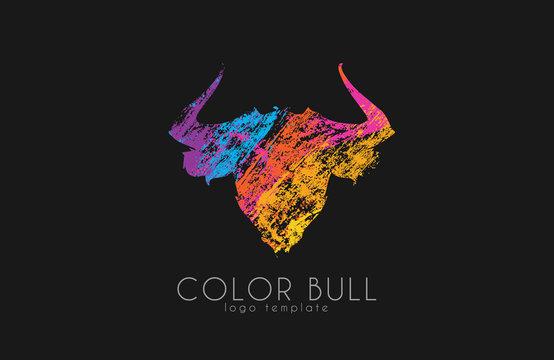 Bull logo design. Color bull. Crealive animal logo.