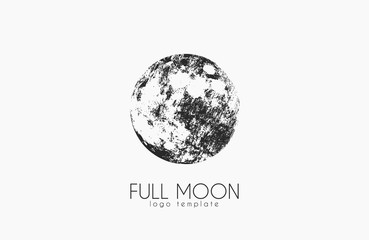 Moon logo design. Creative moon logo. Night logo. Full moon. Wall mural
