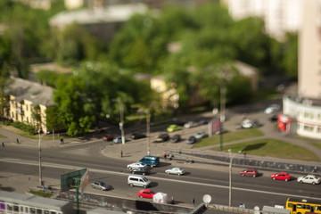 Natural (non-imitation) tilt shift blurry photo. Macro-look cityscape.