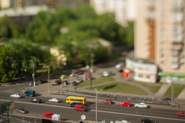 Natural (non-imitation) tilt shift blurry photo. Macro-look cityscape.