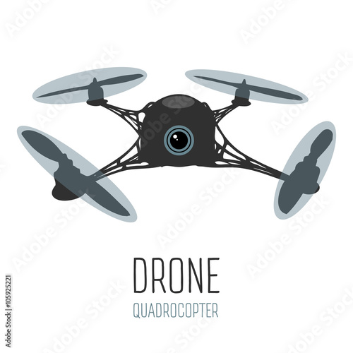 Drone Quadrocopter With Action Camera Front View Vector Isolated Sign Logo