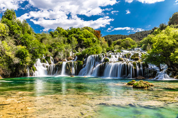Stores photo Cascade Waterfall In Krka National Park -Dalmatia, Croatia