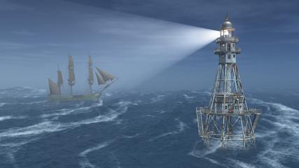 Leuchtturm und Segelschiff bei Nacht