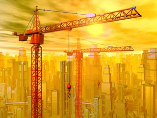 Baukräne in einer Stadtlandschaft