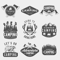 vector set of camping vintage logos, emblems, silhouettes and designs