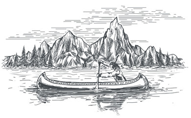 Native american in canoe boat