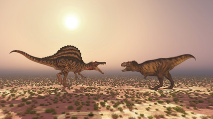 Spinosaurus and Tyrannosaurus Rex