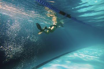 Underwater Man, Man Swimming in Pool, Swimmer Underwater