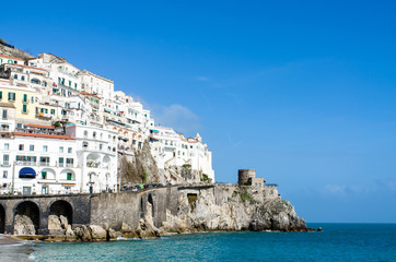 View at beautiful city Amalfi. Amalfi coast, Italy