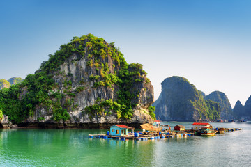 Beautiful view of floating fishing village in the Ha Long Bay