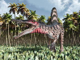 Dinosaur Spinosaurus in the jungle