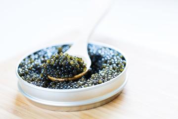 close-up of black caviar