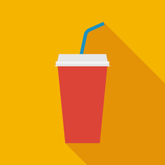 disposable soda cup icon with long shadow. flat style vector illustration