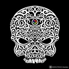 Tribal Skull Head isolated black background