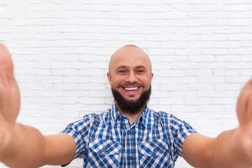 Casual Bearded Business Man Taking Selfie Photo