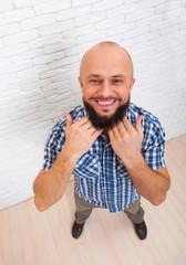 Bearded Man Show Beard Hand Happy Smiling