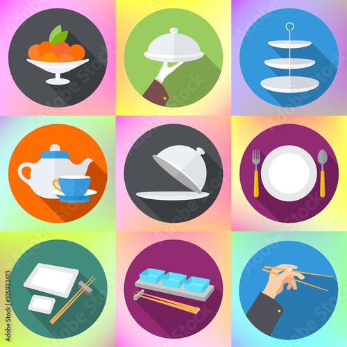 Restaurant Kitchen Toolste set flat design icons for restaurant. kitchen utensils and