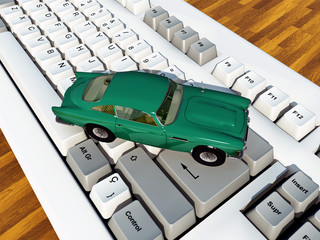Car on computer keyboard