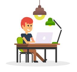 Man Work with Computer Design Flat