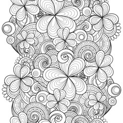 Vector Seamless Monochrome Floral Pattern with Decorative Clover