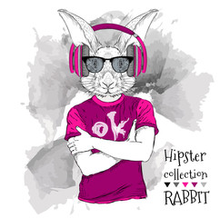 Illustration of rabbit hipster dressed up in t-shirt, pants and  in the glasses and headphones. Vector illustration.