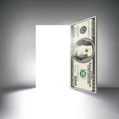 A 100 dollar bill door beckons you to enter with space for type