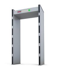 Metal detector door isolated on white background. 3d rendering.