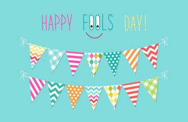 Cute April Fools Day background as festive colorful bunting flags